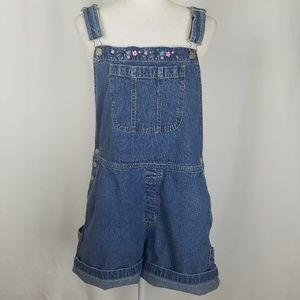 Cherokee Floral Embroidered Denim Overall Shorts